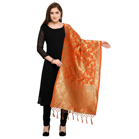 Orange Color Banarasi Silk Women's Dupatta - 52387