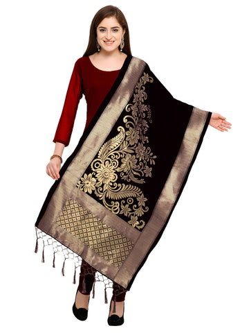Black Color Banarasi Silk Women's Dupatta - 52388