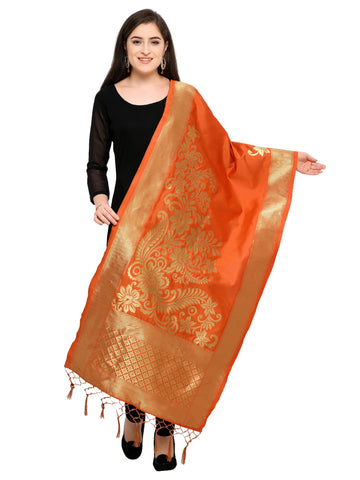 Orange Color Banarasi Silk Women's Dupatta - 52392