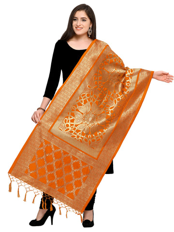 Orange Color Banarasi Silk Women's Dupatta - 52396