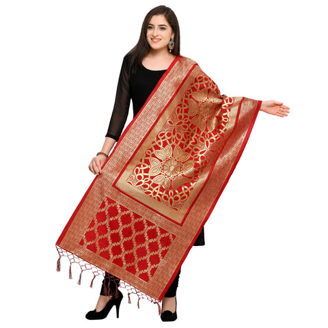 Red Color Banarasi Silk Women's Dupatta - 52398