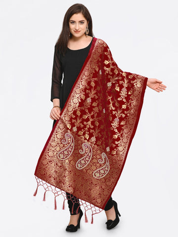 Maroon Color Banarasi Silk Women's Dupatta - 52401