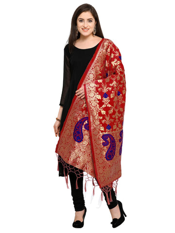 Red Color Banarasi Silk Women's Dupatta - 52403
