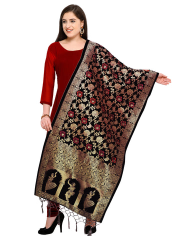 Black Color Banarasi Silk Women's Dupatta - 52404