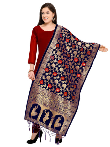 Navy Blue Color Banarasi Silk Women's Dupatta - 52407