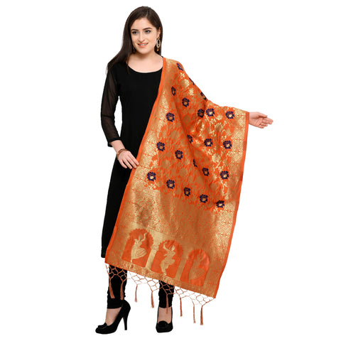 Orange Color Banarasi Silk Women's Dupatta - 52408