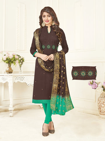 Coffee Color South Slub Cotton Women's Semi-Stitched Salwar Suit - 53855