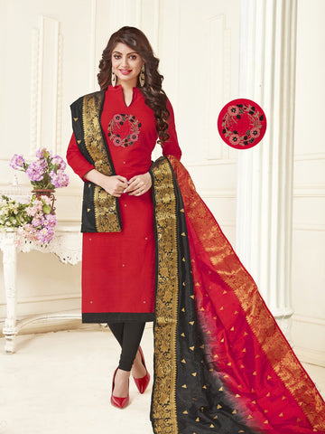 Red Color South Slub Cotton Women's Semi-Stitched Salwar Suit - 53856
