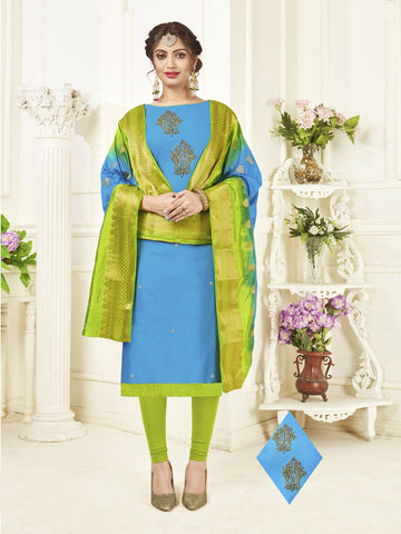 Sky Blue Color South Slub Cotton Women's Semi-Stitched Salwar Suit - 53857