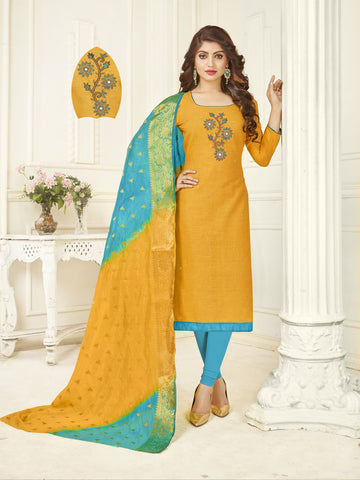 Yellow Color South Slub Cotton Women's Semi-Stitched Salwar Suit - 53858