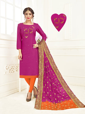 Magenta Color South Slub Cotton Women's Semi-Stitched Salwar Suit - 53859