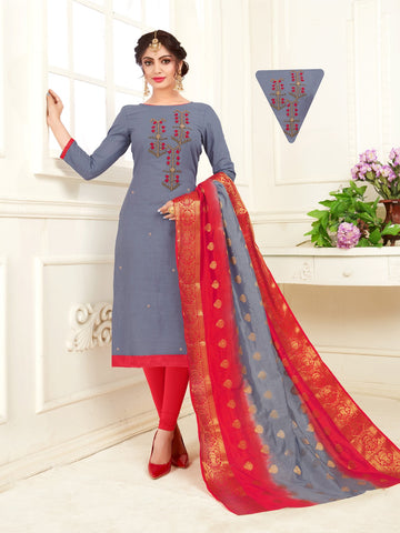 Grey Color South Slub Cotton Women's Semi-Stitched Salwar Suit - 53860