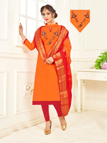 Orange Color South Slub Cotton Women's Semi-Stitched Salwar Suit - 53861
