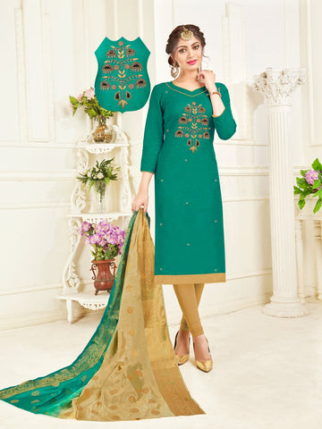 Green Color South Slub Cotton Women's Semi-Stitched Salwar Suit - 53862