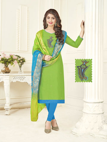Green Color South Slub Cotton Women's Semi-Stitched Salwar Suit - 53863