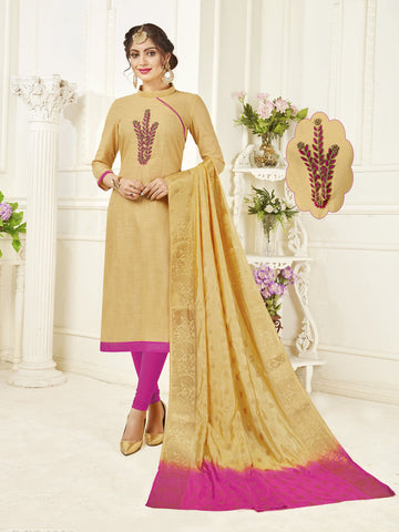 Cream Color South Slub Cotton Women's Semi-Stitched Salwar Suit - 53864