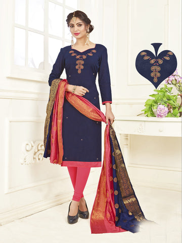 Dark Blue Color South Slub Cotton Women's Semi-Stitched Salwar Suit - 53865