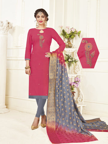 Pink Color South Slub Cotton Women's Semi-Stitched Salwar Suit - 53866