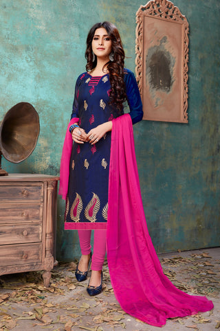 Navy Blue Color Chanderi Women's Semi-Stitched Salwar Suit - 54749