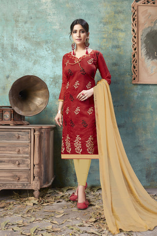 Maroon Color Chanderi Women's Semi-Stitched Salwar Suit - 54750