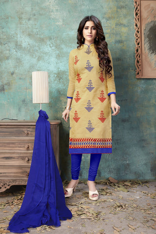 Beige Color Chanderi Women's Semi-Stitched Salwar Suit - 54753