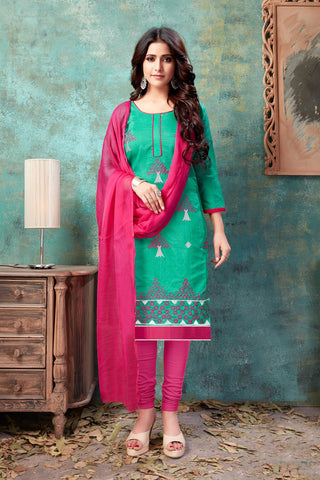 Green Color Chanderi Women's Semi-Stitched Salwar Suit - 54756