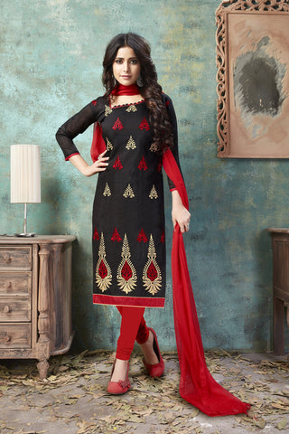 Black Color Chanderi Women's Semi-Stitched Salwar Suit - 54757