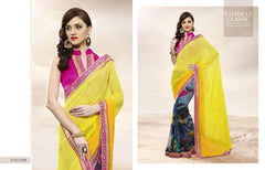 Yellow Color Georgette and Jacquard Saree