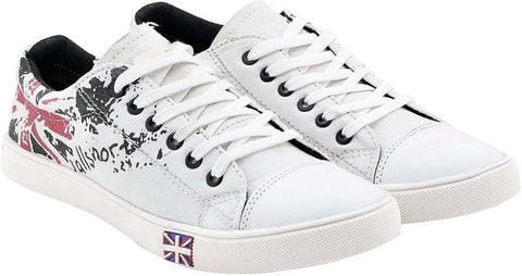 White Color Canvas Shoes - 555-REDPAINT