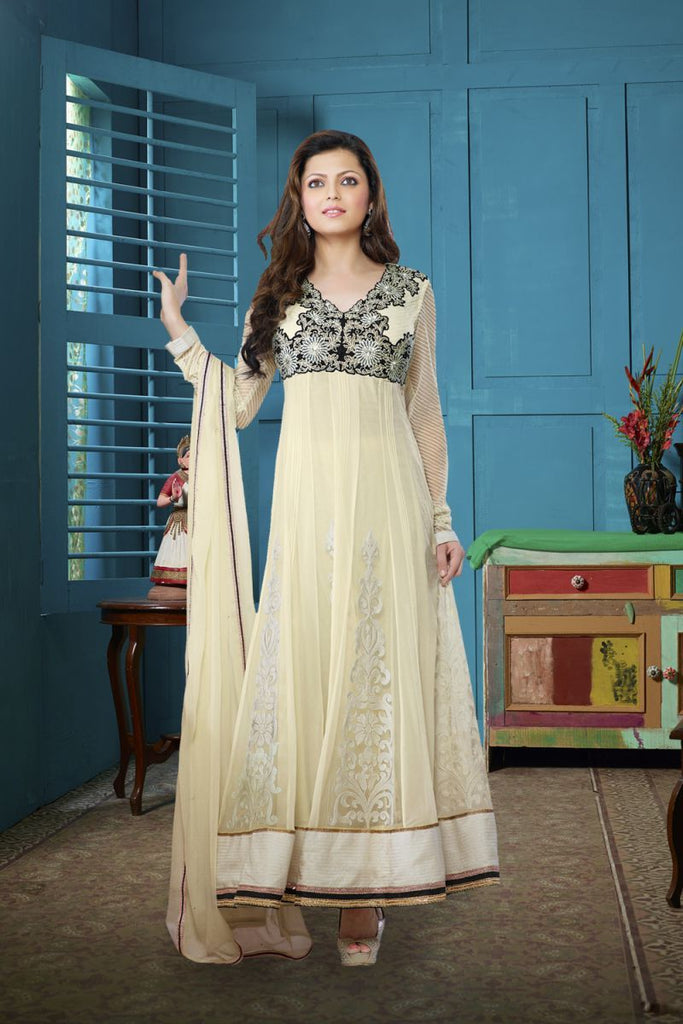 Cream Color Net Salwars