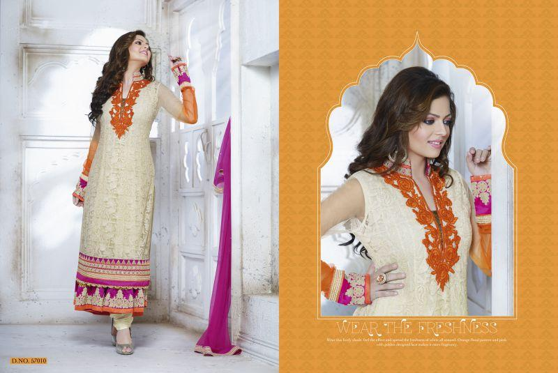 Cream Color Georgette and Net Salwars