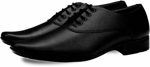 Black Color Synthetic Leather Shoes - 571-BLACK