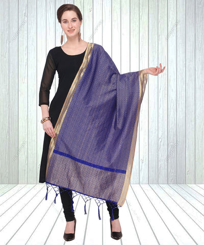Navy Blue Color Jacquard Women's Dupatta - 57855