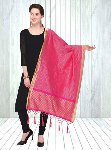 Pink Color Jacquard Women's Dupatta - 57857