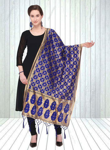 Navy Blue Color Jacquard Women's Dupatta - 57859