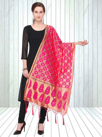 Pink Color Jacquard Women's Dupatta - 57861