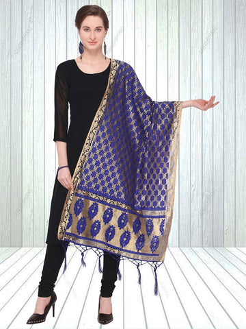Navy Blue Color Jacquard Women's Dupatta - 57863