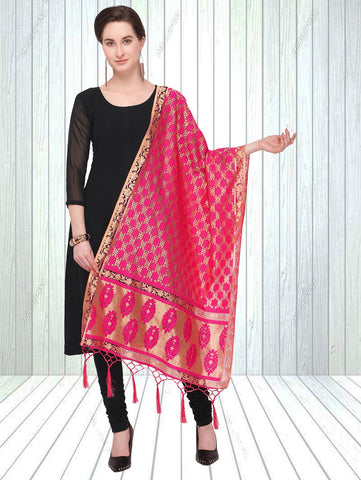 Pink Color Jacquard Women's Dupatta - 57865