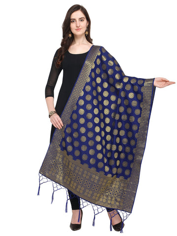 Navy Blue Color Jacquard Women's Dupatta - 57869