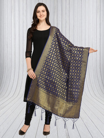 Navy Blue Color Jacquard Women's Dupatta - 57875