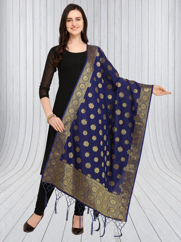 Navy Blue Color Jacquard Women's Dupatta - 57882