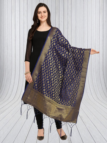 Navy Blue Color Jacquard Women's Dupatta - 57888