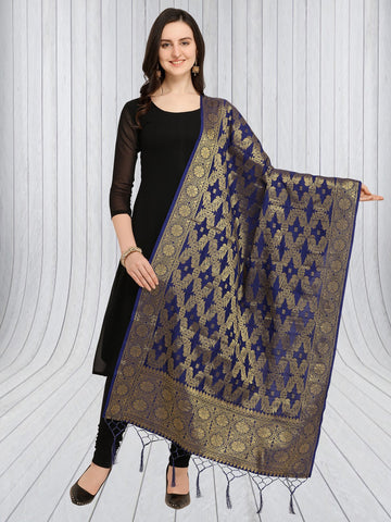 Navy Blue Color Jacquard Women's Dupatta - 57895