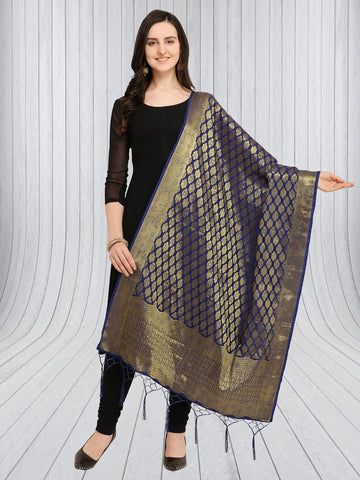 Navy Blue Color Jacquard Women's Dupatta - 57901