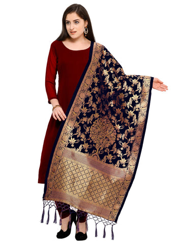 Navy Blue Color Jacquard Women's Dupatta - 57912