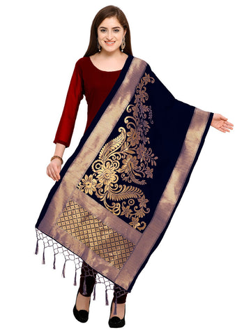 Navy Blue Color Jacquard Women's Dupatta - 57919