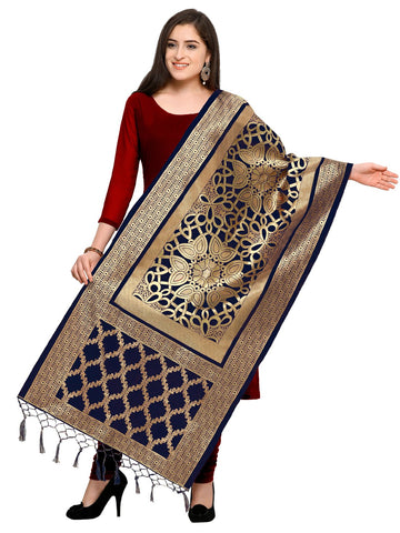 Navy Blue Color Jacquard Women's Dupatta - 57927