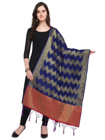 Navy Blue Color Jacquard Women's Dupatta - 57933
