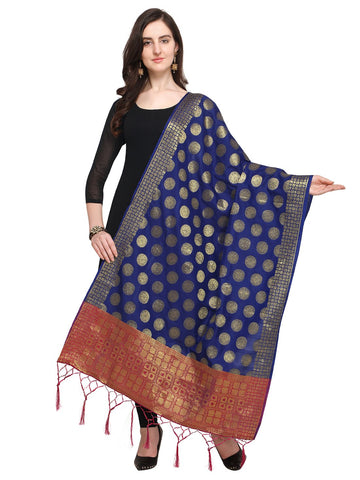 Navy Blue Color Jacquard Women's Dupatta - 57939