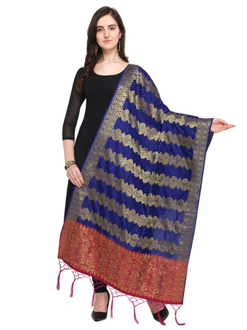 Navy Blue Color Jacquard Women's Dupatta - 57945